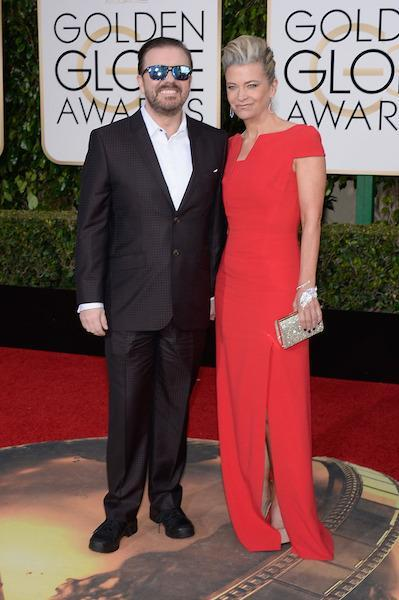 Ricky Gervais wearing blue-tinted sunglasses at the 73rd Golden Globe Awards.