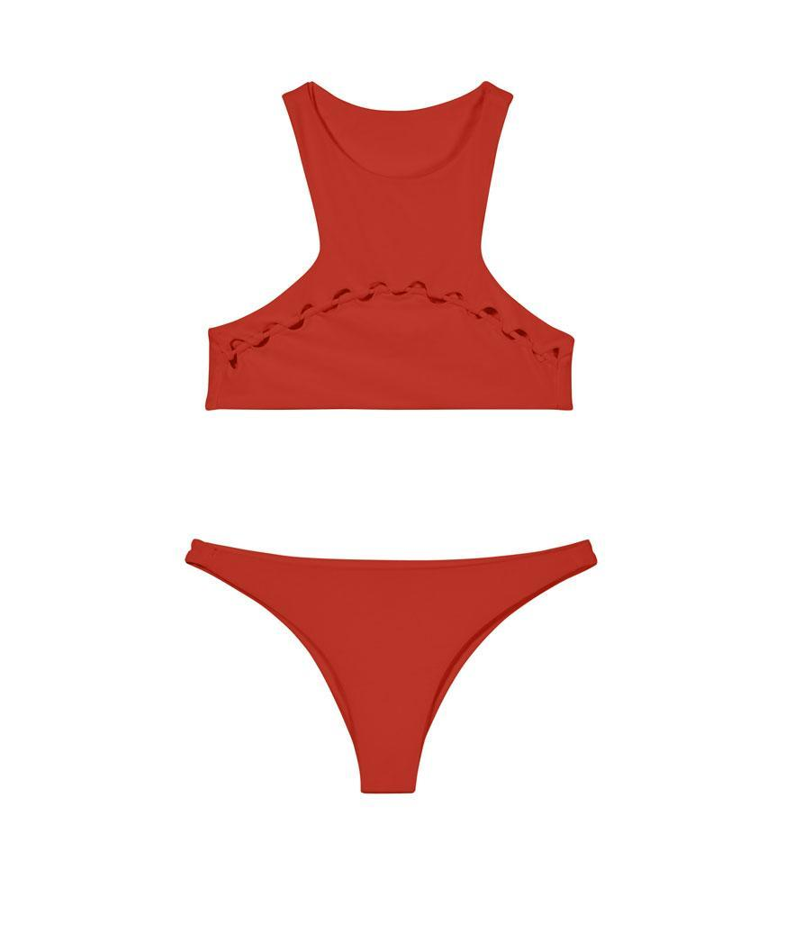 """<p>Bangkok Top in Lehua (red not available, other colors available), $112, <a rel=""""nofollow noopener"""" href=""""https://shop.mikoh.com/collections/tops/products/bangkok-top?variant=29171582087"""" target=""""_blank"""" data-ylk=""""slk:mikoh.com"""" class=""""link rapid-noclick-resp"""">mikoh.com</a><br>Miyako Bottom in Lehua, $90, <a rel=""""nofollow noopener"""" href=""""https://shop.mikoh.com/collections/bottoms/products/miyako-bottom-solids-2?variant=29806955463"""" target=""""_blank"""" data-ylk=""""slk:mikoh.com"""" class=""""link rapid-noclick-resp"""">mikoh.com</a> </p>"""