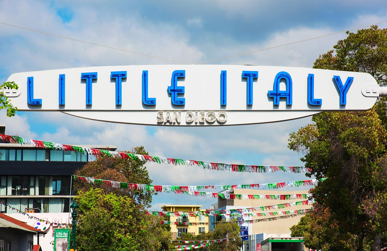 <p><strong>Tell me: What's this place all about?</strong><br> One of the buzziest neighborhoods in San Diego, Little Italy is the place to go for charming restaurants and bakeries, wine bars, and boutique shopping.</p> <p><strong>What should we be doing here?</strong><br> Wear your stretchy pants and prepare to carbo-load in this restaurant-heavy district.</p> <p><strong>Who comes here?</strong><br> It's a popular spot for a stroll, shopping, or meal out, and attracts a fair mix of locals and visitors.</p> <p><strong>What should we look for once we're here?</strong><br> The main thoroughfare along India Street is home to trusty favorite Italian spots like Barbusa, Buon Appetito and Civico 1845, but the neighborhood has made room for several non-Italian restaurants in recent years, such as Ironside Fish & Oyster, Juniper & Ivy, and Queenstown Public House. On Saturdays from 8 a.m. to 2 p.m., the Little Italy Mercato Farmers Market takes over the neighborhood, with more than 175 vendors selling fresh produce, artisanal foods, and handmade goods. Stroll through the market along West Cedar Street between Kettner Boulevard and Front Street, picking up samples and prepared foods along the way. For a pre-dinner drink, visit the garden patio at Carruth Cellars, the rooftop bar at Pali Wine Co., or the sidewalk patio at Monello. The nightlife scene in Little Italy draws people in their thirties and forties to Herb & Wood, Kettner Exchange, and the Waterfront (San Diego's oldest dive bar).</p> <p><strong>So, then, what, or who, do you think it's best for?</strong><br> Go for a fun night out, or at least for a drink and a stroll. It's fun to see everyone in action.</p>