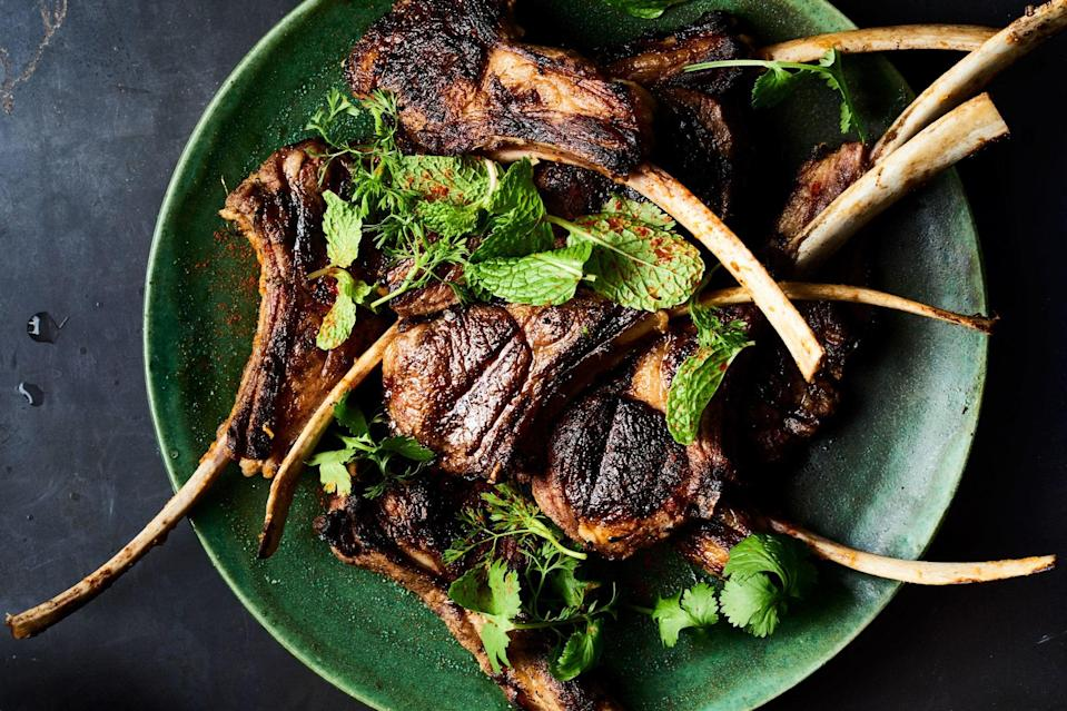 """You don't need a roaring-hot grill for this lamb chops recipe. Grilling them over moderate heat will allow some of the fat to soften and render. <a href=""""https://www.epicurious.com/recipes/food/views/indian-spice-marinated-and-grilled-lamb-chops?mbid=synd_yahoo_rss"""" rel=""""nofollow noopener"""" target=""""_blank"""" data-ylk=""""slk:See recipe."""" class=""""link rapid-noclick-resp"""">See recipe.</a>"""