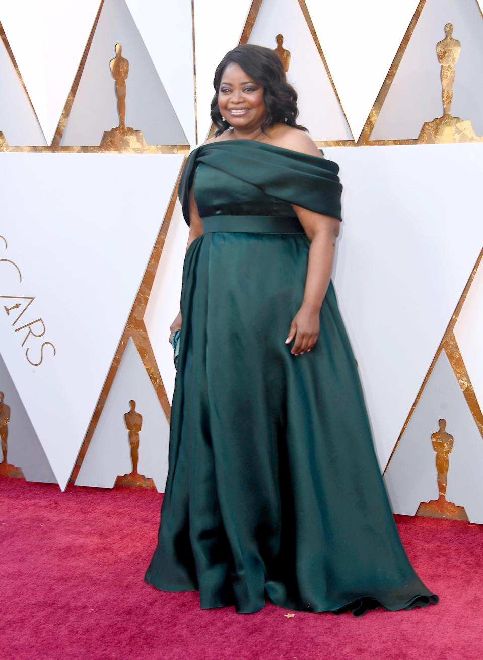 <p>The actress took to the red carpet in an emerald green Brandon Maxwell dress. <em>[Photo: Getty]</em> </p>