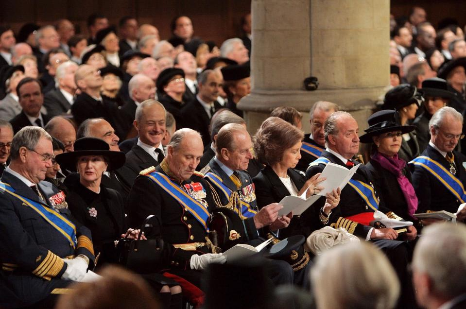 FILE - In this Saturday, Dec. 11, 2004, file photo, from left: Danish Prince Henrik, Queen Sonja and King Harald from Norway, Britain's Prince Philip, Queen Sofia, and King Juan Carlos from Spain and Queen Silvia and King Carl XVI Gustaf from Sweden during the funeral service of Dutch Prince Bernhard in the Nieuwe Kerk or New Church in Delft, The Netherlands. Prince Philip's life spanned just under an entire century of European history. His genealogy was just as broad, with Britain's longest-serving consort linked by blood and marriage to most of the continent's royal houses. (AP Photo/Jasper Juinen, File)