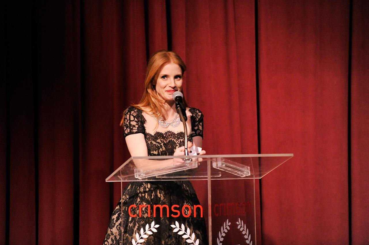 NEW YORK, NY - JANUARY 07:  Actress Jessica Chastain speaks onstage at the 2012 New York Film Critics Circle Awards at Crimson on January 7, 2013 in New York City.  (Photo by Stephen Lovekin/Getty Images)