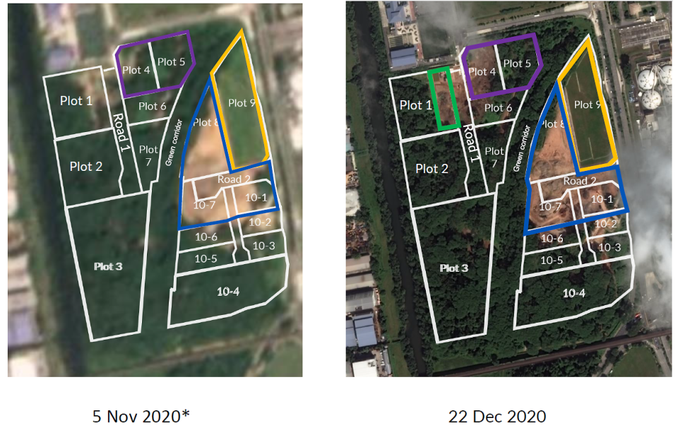 Satellite images depicting the clearance of various plots from November to December 2020. (PHOTO: JTC Corp, Planetscope)