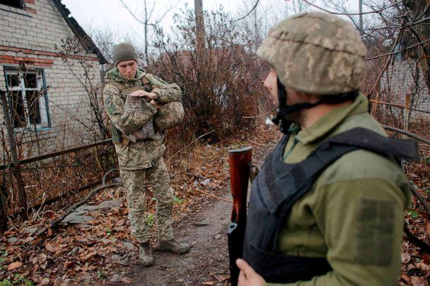 PHOTO: Ukrainian servicemen patrol near the town of Avdiivka on the front line with Russia-backed separatists in eastern Ukraine on Nov. 28, 2019. (Anatolii Stepanov/AFP via Getty Images)