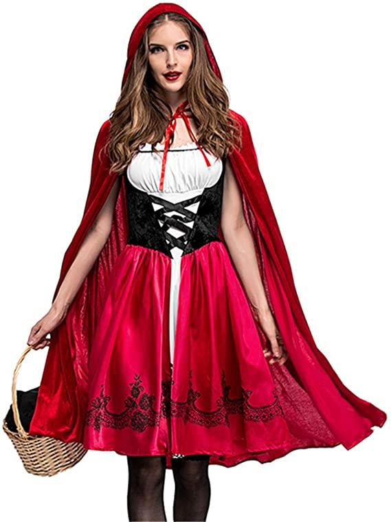 Women wears Little Red Riding Hood Halloween Costume with red corset dress and matching cape
