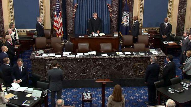 PHOTO: Chief Justice of the Supreme Court John Roberts addresses the Senate on the second day of the impeachment trial against President Donald Trump at the Capitol, Jan. 22, 2020. (ABC News)