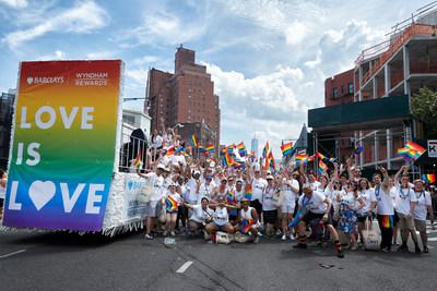Wyndham Hotels & Resorts team members participate in the 2018 Pride March in New York City. Photo credit: Danny Chin - Omega Photo Studios
