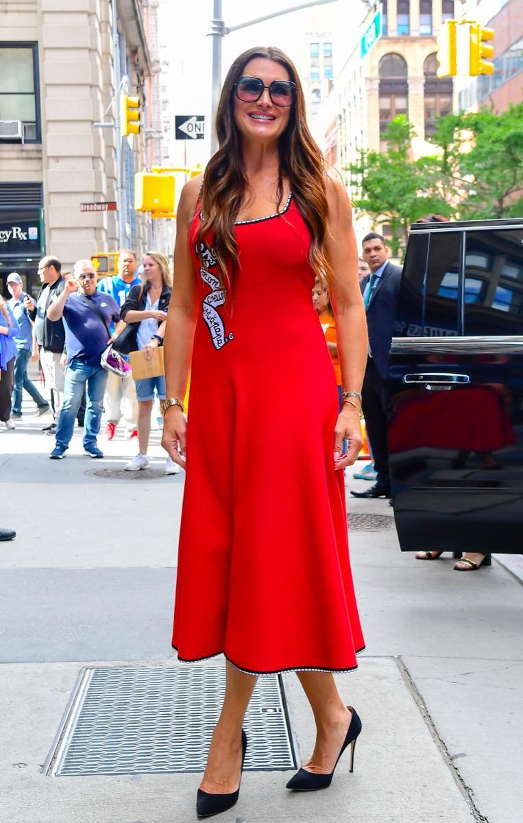 NEW YORK, NY - SEPTEMBER 24:  Actress Brooke Shields is seen outside build studio on September 24, 2019 in New York City.  (Photo by Raymond Hall/GC Images)
