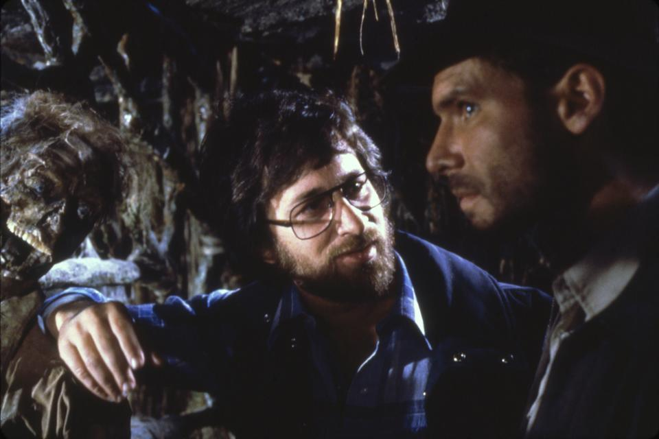 American actor Harrison Ford and director Steven Spielberg on the set of