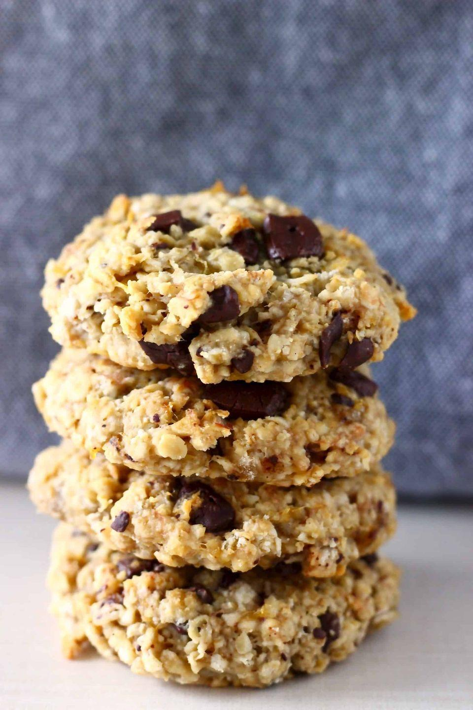"""<p>These moist, soft, chewy cookies get their sweetness from bananas, a bit of maple, and vanilla.</p><p><a class=""""link rapid-noclick-resp"""" href=""""https://www.rhiansrecipes.com/banana-cookies/"""" rel=""""nofollow noopener"""" target=""""_blank"""" data-ylk=""""slk:GET THE RECIPE"""">GET THE RECIPE</a><br></p><p><em>Per serving: 148 calories, 6 g fat (3 g saturated), 19 g carbs, 9 mg sodium, 2 g fiber, 6 g sugar, 3 g protein</em><br></p>"""