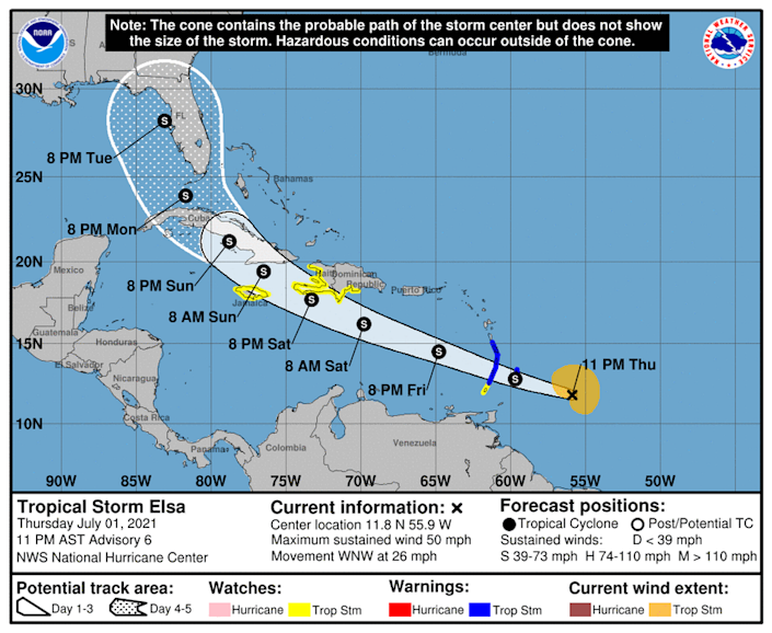 The National Hurricane Center shifted the track for Tropical Storm Elsa slightly east between the 8 p.m. update and the 11 p.m. update.