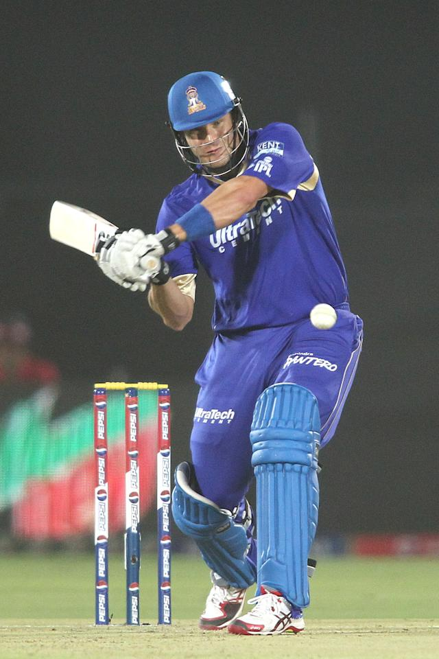 Shane Watson of Rajasthan Royals looks to attack a delivery during match 23 of the Pepsi Indian Premier League (IPL) 2013 between The Rajasthan Royals and the Mumbai Indians held at the Sawai Mansingh Stadium in Jaipur on the 17th April 2013..Photo by Shaun Roy-IPL-SPORTZPICS  ..Use of this image is subject to the terms and conditions as outlined by the BCCI. These terms can be found by following this link:..https://ec.yimg.com/ec?url=http%3a%2f%2fwww.sportzpics.co.za%2fimage%2fI0000SoRagM2cIEc&t=1498609117&sig=UV40ChPQ1Cn2EkciGCLAXg--~C