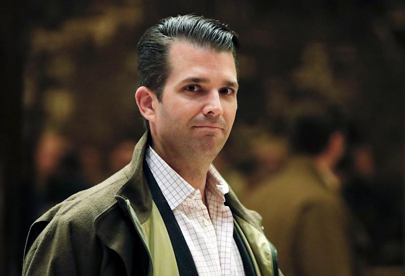 In this Nov. 16, 2016 photo, Donald Trump Jr., son of President-elect Donald Trump, walks from the elevator at Trump Tower in New York. Donald Trump Jr.'s scheduled visit to Capitol Hill on Thursday marks a new phase in the Senate investigation of Moscow's meddling in the 2016 election and a meeting that the president's eldest son had with Russians during the campaign. Staff from the Senate Judiciary Committee _ one of three congressional committees conducting investigations _ plan to privately interview the younger Trump. (AP Photo/Carolyn Kaster)