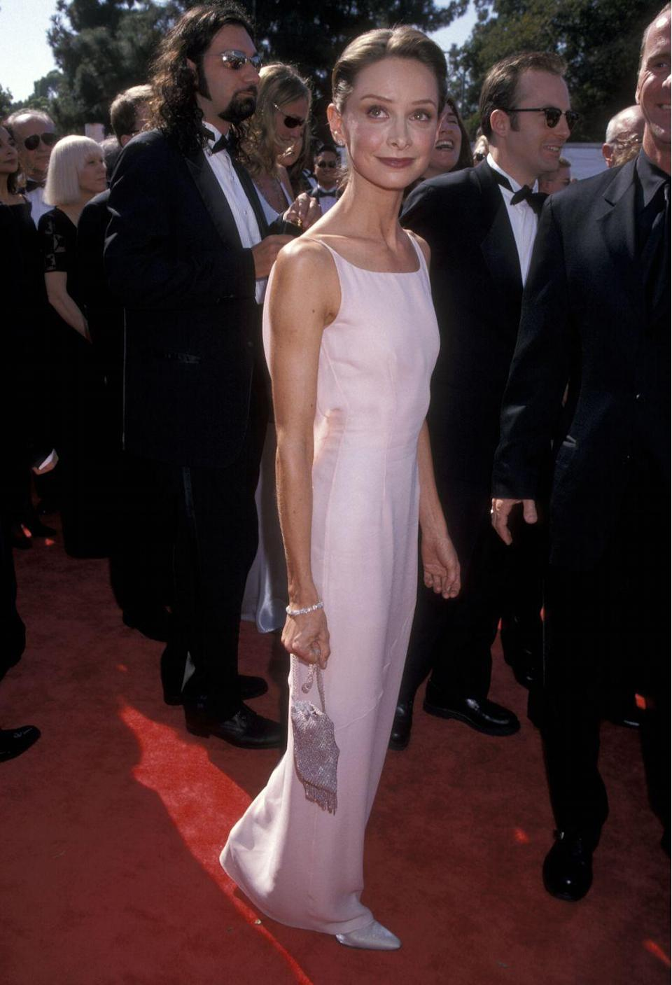 <p>Flockhart was pretty in pink on the Emmy carpet in 1998. </p>