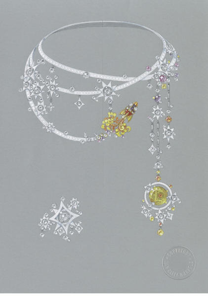 Tampa necklace by Van Cleef & Arpels, French; Made of white and yellow gold with round-, baguette- and rose-cut diamond, round pink, purple and yellow sapphire, rose-cut blue sapphire, onyx, round orange garnet, round red spinel and round beryl
