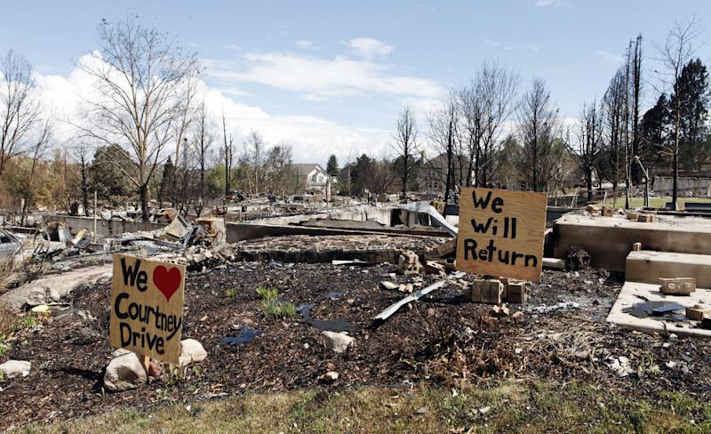 Signs are placed in the yard of a home destroyed by the Waldo Canyon wildfire in Colorado Springs, Colo., on Monday, July 9, 2012. (AP Photo/Ed Andrieski)