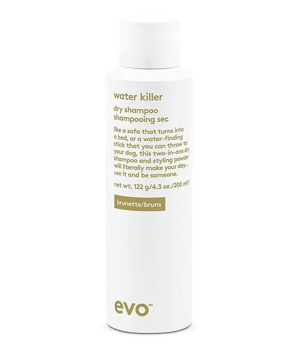 "<p>""The first time I tried the <span>Evo Water Killer Dry Shampoo Brunette</span> ($30) was during a trip to Spain. I had gotten my hands on a travel-size bottle before leaving and threw it in my carry-on bag without thinking much of it. I didn't expect to be completely blown away by the formula but that's exactly what happened. It allowed me to go multiple days between washing my hair and left behind zero residue thanks to its dark tint."" - JH </p>"