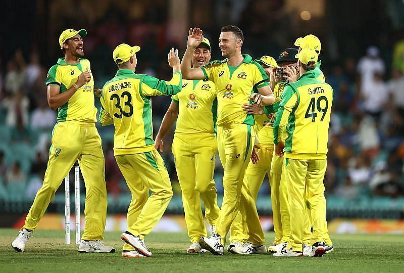Australia celebrate after picking up a wicket.