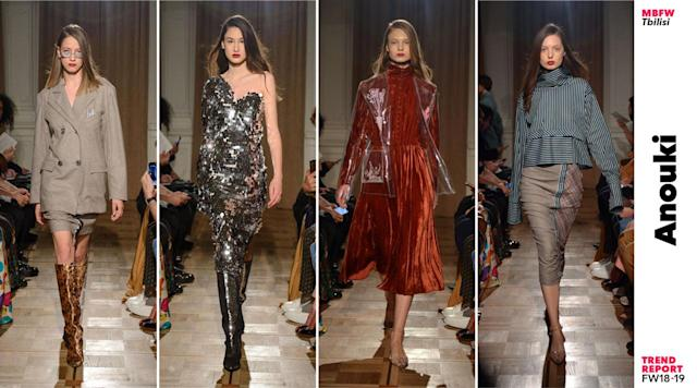 The top four looks from the fall/winter 2018-2019 Anouki collection. (Photo: Courtesy of Mercedes-Benz Fashion Week Tbilisi; art: Quinn Lemmers for Yahoo Lifestyle)