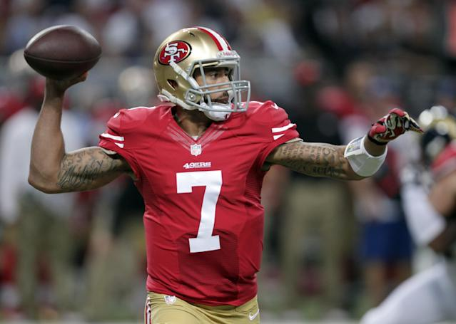 San Francisco 49ers quarterback Colin Kaepernick throws during the first quarter of an NFL football game against the St. Louis Rams on Thursday, Sept. 26, 2013, in St. Louis. (AP Photo/Tom Gannam)