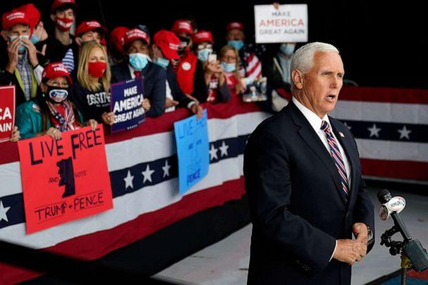 PHOTO: Vice President Mike Pence gives a television interview after a campaign rally, Tuesday, Sept. 22, 2020, at Lanconia Municipal Airport in Gilford, N.H. (Robert F. Bukaty/AP)