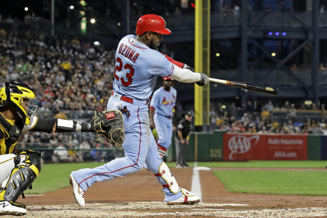 St. Louis Cardinals' Marcell Ozuna follows through on a three-run home run off Pittsburgh Pirates starting pitcher Steven Brault during the third inning of a baseball game in Pittsburgh, Saturday, Sept. 7, 2019. (AP Photo/Gene J. Puskar)
