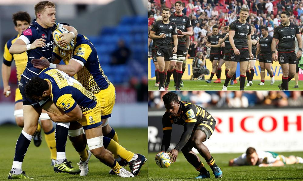Clockwise from left: Sale Sharks' Mike Haley is tackled, Saracens celebrate their win over Harlequins, and Christian Wade scores against Northampton.