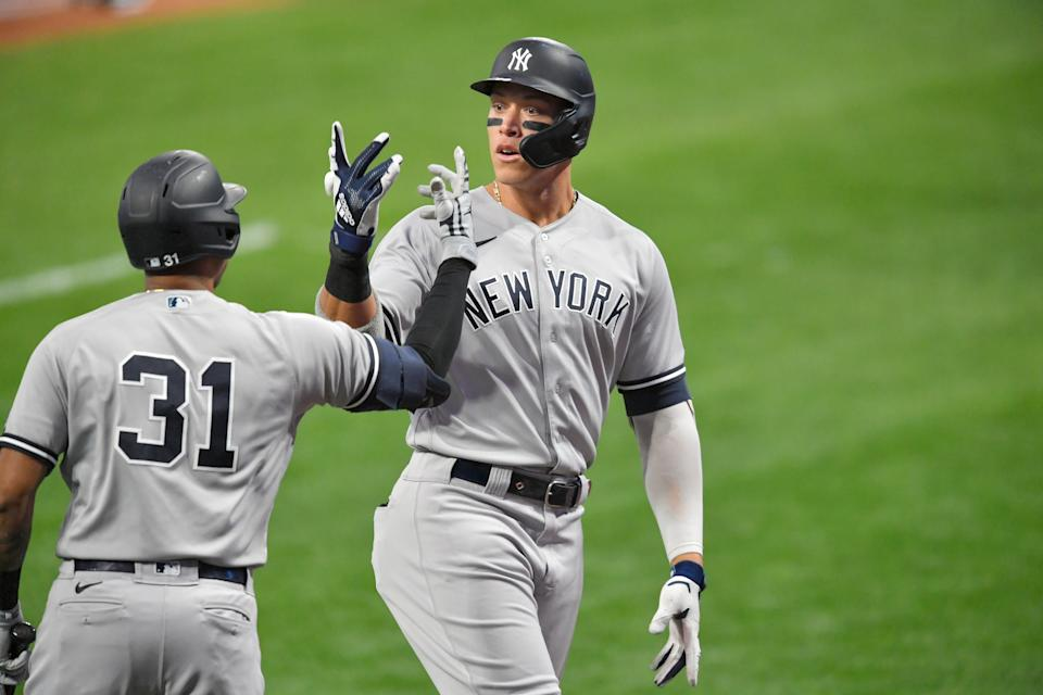 Aaron Judge and the Yankees rolled to an easy win in Game 1 of the Wild Card Series against the Cleveland Indians. (Photo by Jason Miller/Getty Images)