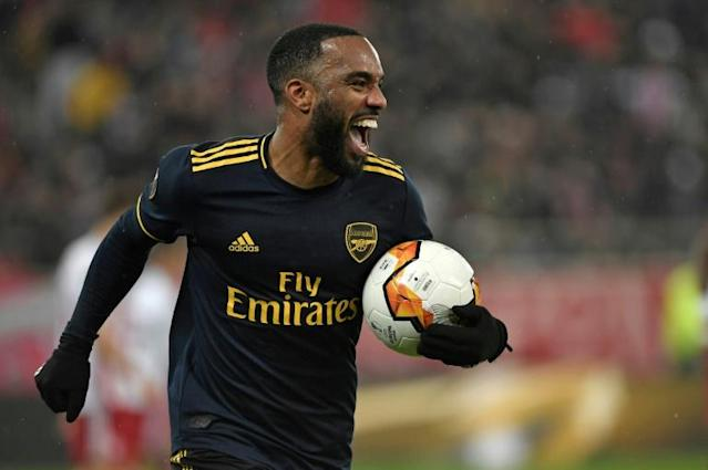 Alexandre Lacazette scored the only goal in the first leg in Greece (AFP Photo/LOUISA GOULIAMAKI )