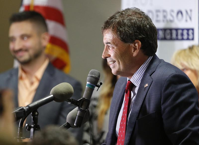 Troy Balderson speaks to a crowd of supporters during an election night party: AP