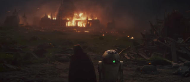 Luke and R2-D2 witness the destruction of what we believe to be the temple for his new Jedi Order. (Photo: Lucasfilm)