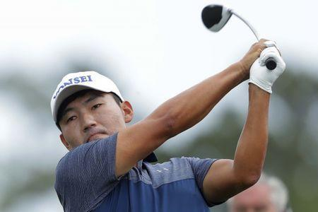 Apr 1, 2017; Humble, TX, USA; Sung Kang tees off on the third hole during the third round of the Shell Houston Open at Golf Club of Houston - The Tournament Course. Mandatory Credit: Erich Schlegel-USA TODAY Sports