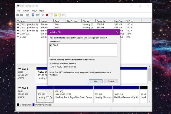Windows 10 Initialize Disk