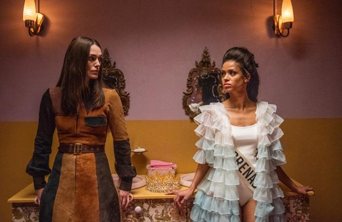 "Keira Knightley (left) and Gugu Mbatha-Raw star in ""Misbehavior,"" chronicling the events of the 1970 Miss World competition."