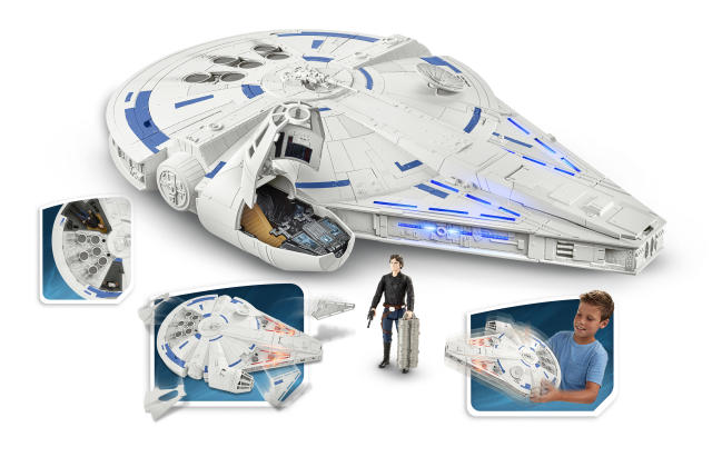 "<p>If you prefer your Falcons in a non-Lego variety, Hasbro has this Force Link 2.0-enabled re-creation of the signature <em>Star Wars</em> spacecraft, including ejectable panels and a detatchable escape pod. Somehow we think that both of those elements are going to be part of the big Kessel Run sequence in <a href=""https://www.yahoo.com/entertainment/tagged/solo"" data-ylk=""slk:Solo: A Star Wars Story"" class=""link rapid-noclick-resp""><em>Solo: A Star Wars Story</em></a>. (Photo: Hasbro) </p>"