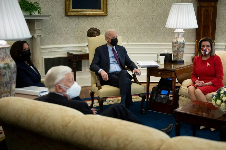 US President Joe Biden and Vice President Kamala Harris met with House Majority Leader Steny Hoyer and Speaker of the House Nancy Pelosi to discuss his Covid-19 relief proposal
