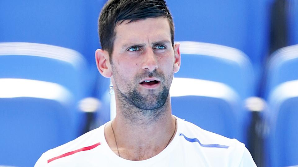 Novak Djokovic, pictured here during a practice session at the Tokyo Olympics.