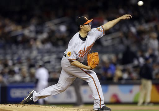 Baltimore Orioles starting pitcher Wei-Yin Chen delivers in a baseball game against the New York Yankees at Yankee Stadium in New York , Sunday, April 14, 2013. (AP Photo/Kathy Willens)