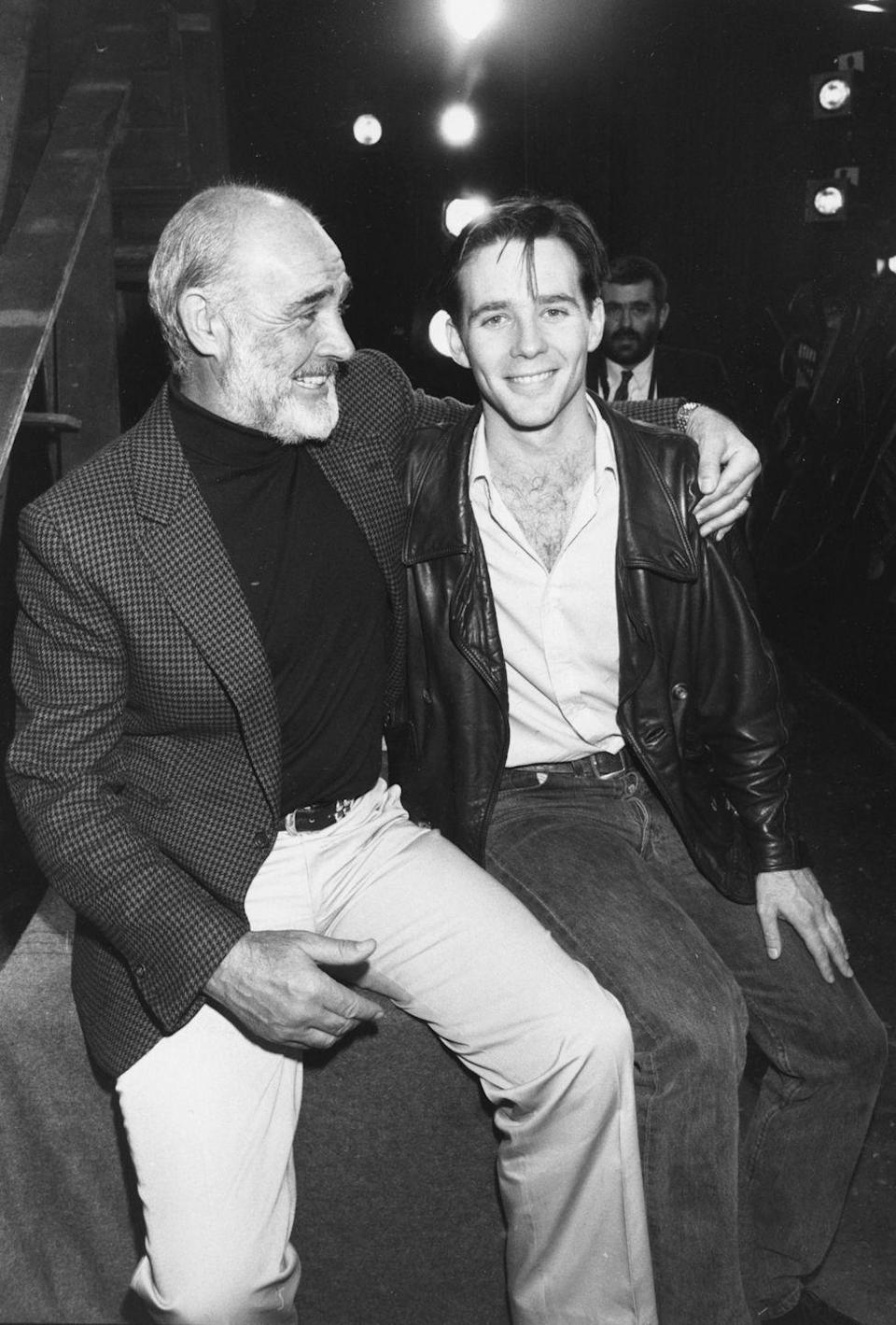 <p>Sean Connery shows a sign of support by visiting the set of his son Jason's play in 1988. </p>