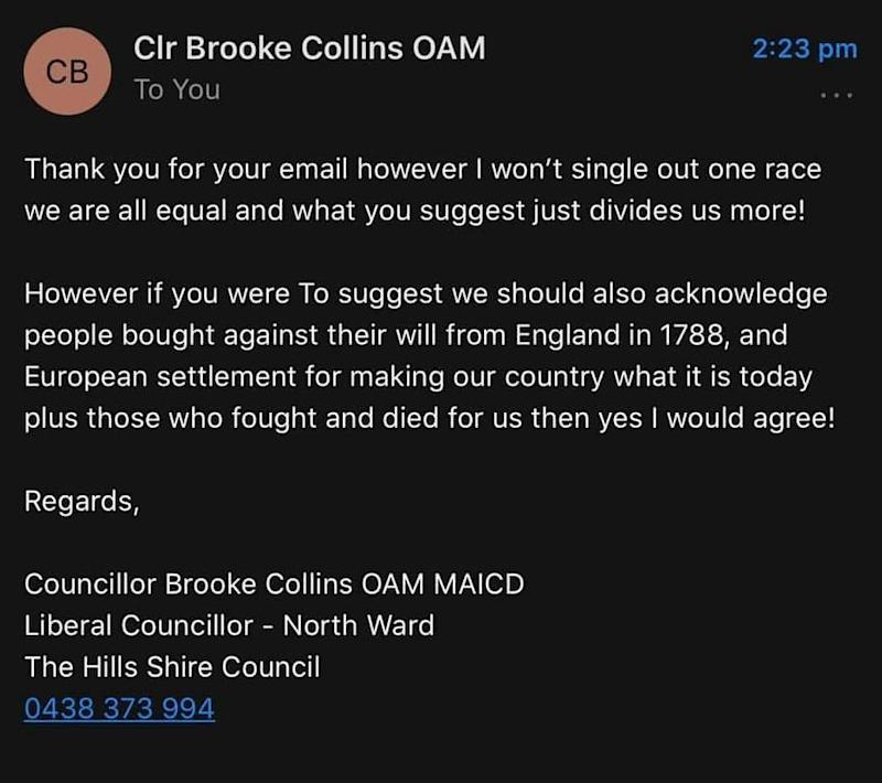 Councillor Collins' reply was shared, with permission, to HuffPost. (Photo: Samantha Wylie )
