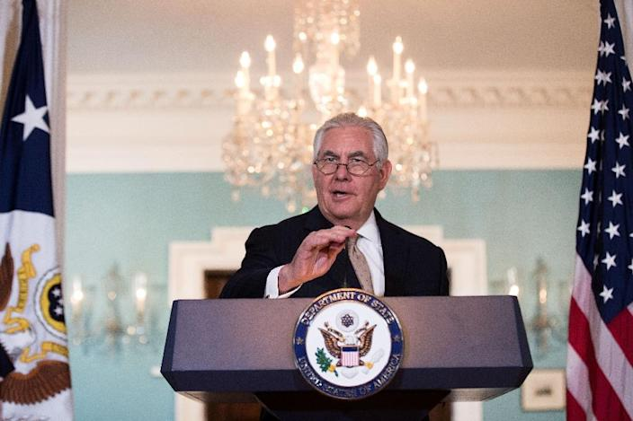 """US Secretary of State Rex Tillerson urges Saudi Arabia and its allies to ease their """"blockade"""" of Qatar in a June 9, 2017 statement (AFP Photo/Drew Angerer)"""