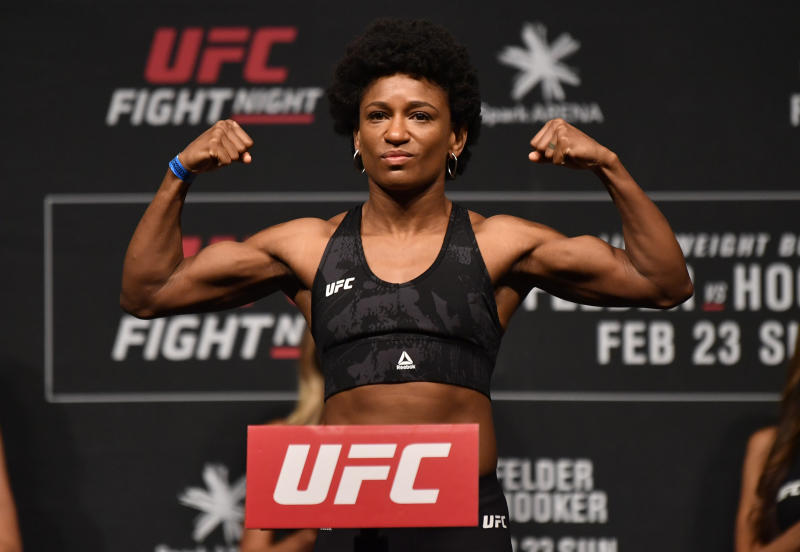 AUCKLAND, NEW ZEALAND - FEBRUARY 22: Angela Hill poses on the scale during the UFC weigh-in at Spark Arena on February 22, 2020 in Auckland, New Zealand. (Photo by Jeff Bottari/Zuffa LLC via Getty Images)