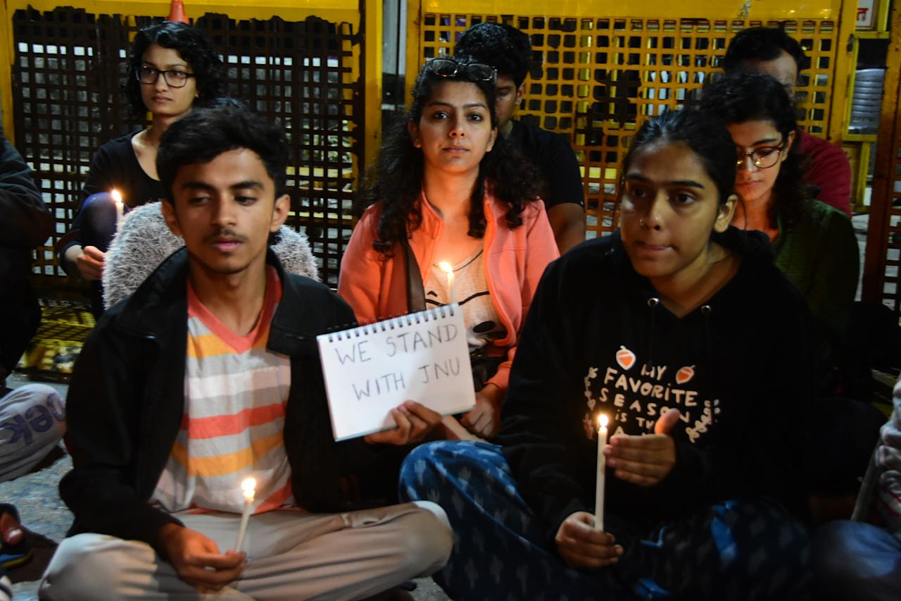 Candlelight protest against the attack on JNU students outside Gateway of India in Mumbai.