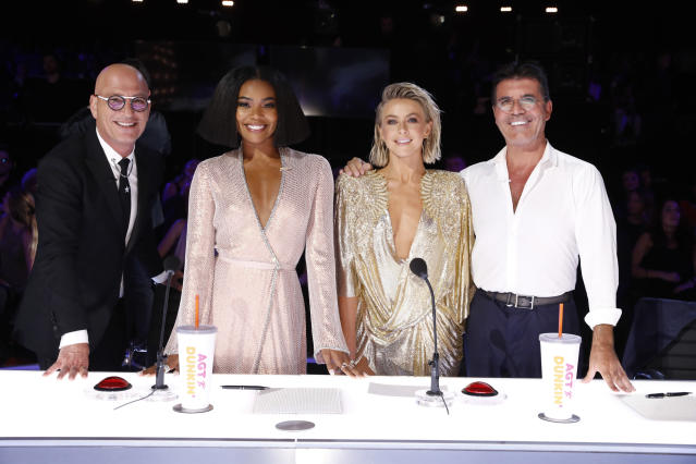 America's Got Talent judges Howie Mandel, Gabrielle Union, Julianne Hough, Simon Cowell. (Photo by: Trae Patton/NBCU Photo Bank/NBCUniversal via Getty Images)