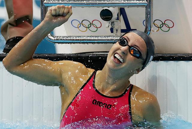 LONDON, ENGLAND - AUGUST 02: Rebecca Soni celebrates victory in the Women's 200m Breaststroke during Day 6 of the London 2012 Olympics Games at the Aquatics Centre on August 02, 2012 in London, England. (Photo by Ian MacNicol/Getty Images)