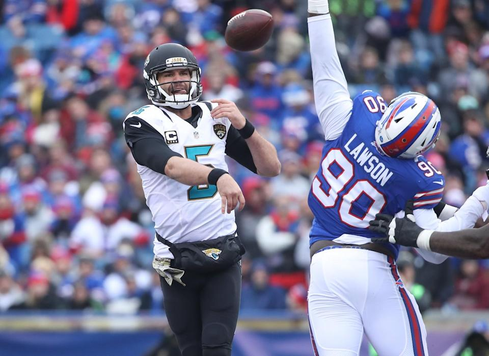<p>Blake Bortles #5 of the Jacksonville Jaguars throws the ball during NFL game action against the Buffalo Bills at New Era Field on November 27, 2016 in Orchard Park, New York. (Photo by Tom Szczerbowski/Getty Images) </p>