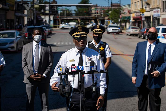Chicago Police Supt. David Brown speaks to reporters outside the scene where a mother and nine-year-old boy were shot, Wednesday afternoon, Aug. 19, 2020, in Chicago.
