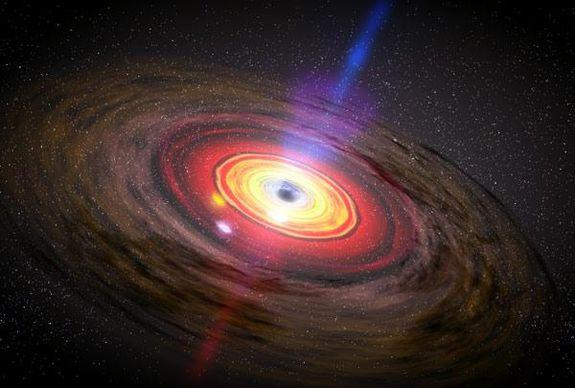 An artist's conception of swirling matter around a black hole.