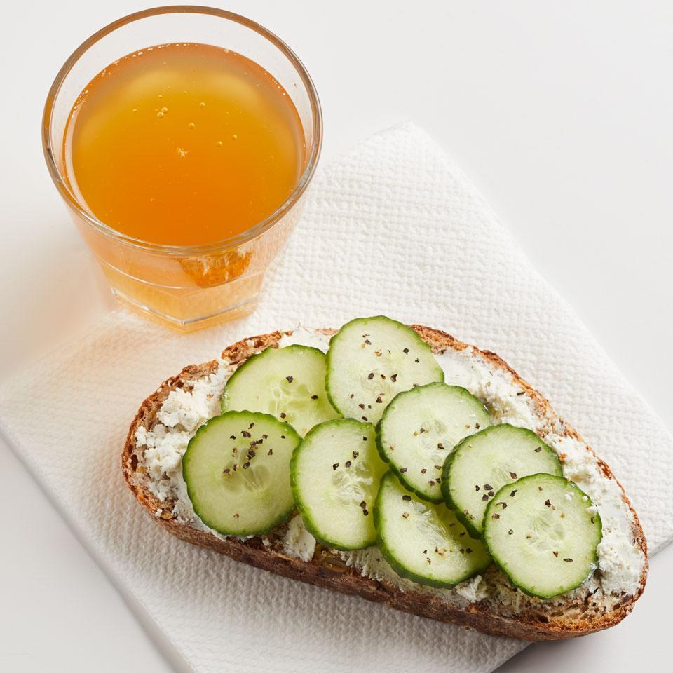 "<p>The English cucumber sandwich gets a healthy fiber bump with sprouted whole-grain bread. This easy open-face sandwich recipe is a great healthy snack or packable lunch idea. <a href=""http://www.eatingwell.com/recipe/257794/cucumber-sandwich/"" rel=""nofollow noopener"" target=""_blank"" data-ylk=""slk:View recipe"" class=""link rapid-noclick-resp""> View recipe </a></p>"
